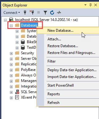 SQL Server CREATE DATABASE using SSMS step 1